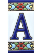 Enamelled ceramic tile letters & numbers.