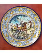 Don Quixote and Sancho - Spanish Ceramic -